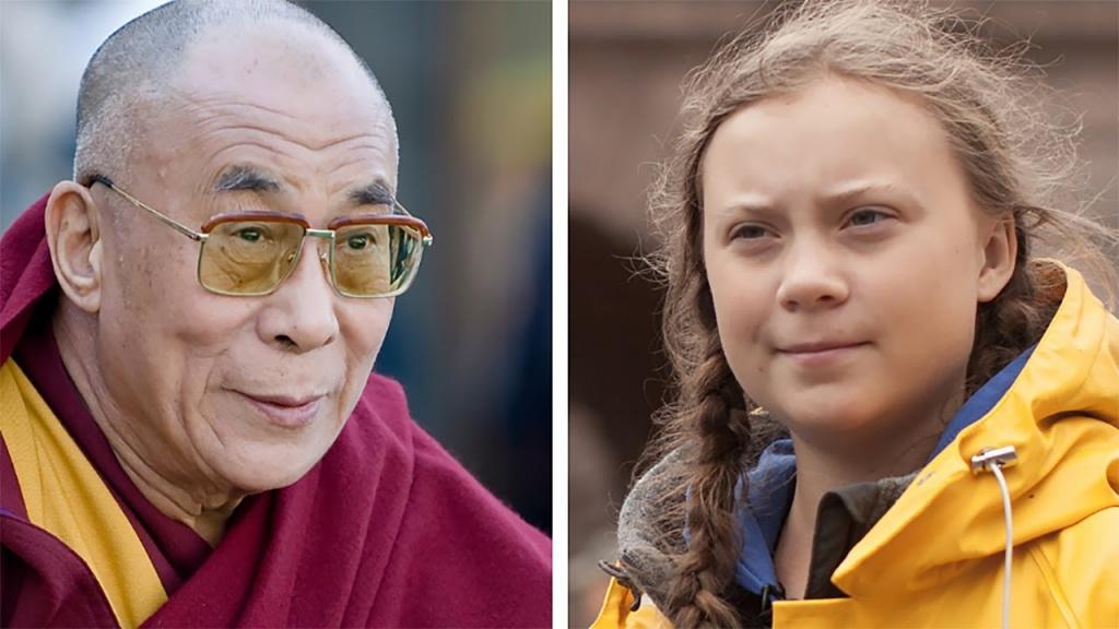 Dalai Lama con Greta Thunberg y líderes científicos